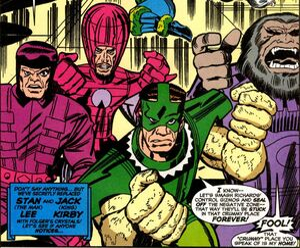 Frightful Four (Earth-616) Trapster, Wizard, Sandman, Blastaar from Fantastic Four Worlds Greatest Comic Magazine Vol 1 10`