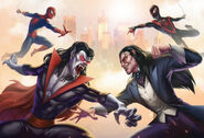 Peter Parker (Earth-TRN461) and Michael Morbius (Earth-TRN461) vs. Miles Morales (Earth-TRN461) and Morlun (Earth-001) from Spider-Man Unlimited (video game) 001