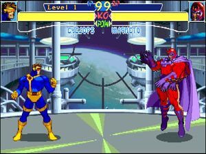 Scott Summers (Earth-30847) and Max Eisenhardt (Earth-30847) from X-Men Children of the Atom (arcade game) 001