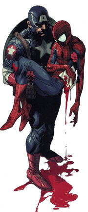 Steven Rogers (Earth-1610) and Peter Parker (Earth-1610) from Ultimate Avengers vs. New Ultimates Vol 1 4 001