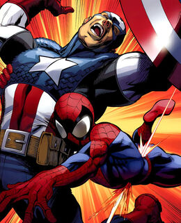 Steven Rogers (Earth-1610) and Peter Parker (Earth-1610) from Ultimate Spider-Man Vol 1 157 0001