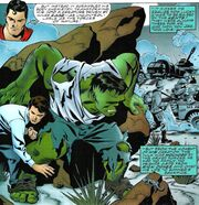 Bruce Banner (Earth-7642), Richard Jones (Earth-7642), and United States Army (Earth-7642) from Incredible Hulk vs. Superman Vol 1 1 001