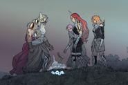 Thor Odinson (Earth-14412), Atli Wodendottir (Earth-14412), Ellisiv Wodendottir (Earth-14412), Frigg Wodendottir (Earth-14412) from King Thor Vol 1 4 001