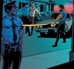 New York Police Department (Earth-71928) and Peter Parker (Earth-71928) from What If? The Punisher Vol 1 1 001