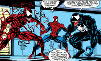 Cletus Kasady, Peter Parker and Edward Brock (Earth-616) from Amazing Spider-Man Vol 1 362 0001
