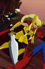 Francis Barton (Earth-555326) and Torunn Thorsdóttir (Earth-555326) from Next Avengers Heroes of Tomorrow 0001