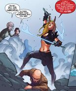 Illyana Rasputina (Earth-616), Charles Xavier II (Earth-13729), Kymera (Earth-13729), and Jubilation Lee (Earth-13729) from X-Men Battle of the Atom Vol 1 2 0001