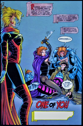 Candra (Earth-616) John Domingo (Earth-93060) Remy LeBeau (Earth-616) Rhiannon (Earth-93060) from Night Man and Gambit Vol 1 -3