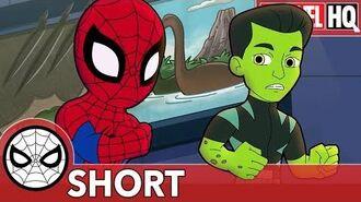 Spidey & Reptil Defend from Dino Destruction! Marvel Super Hero Adventures - I'm Positive! SHORT