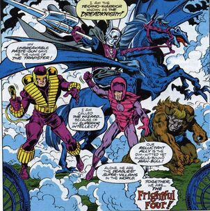 Frightful Four (Earth-616) Trapster, Dreadknight, Wizard, Man-Bull from Amazing Spider-Man Chaos in Calgary Vol 1 4