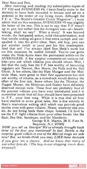 George R R Martin Letter from Avengers Vol 1 12