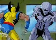 Earthquake (Earth-92131) impersonated by robot and Wolverine (Logan) (Earth-92131) from X-Men The Animated Series Season 2 11 001