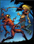 Carnage (Symbiote) (Earth-1610) and Gwendolyne Stacy (Earth-1610) from Ultimate Spider-Man Vol 1 62 001