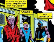 A'Lars (Earth-616), Eros (Earth-616) and Thanos (Earth-616) from Iron Man Vol 1 55 001