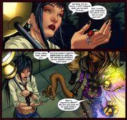 Karolina Dean (Earth-616), Nico Minoru (Earth-616), and Xavin (Earth-616) from Runaways Vol 2 17 001