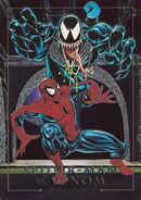 Peter Parker and Edward Brock (Earth-616) from Marvel Masterpieces Trading Cards 1992 Battle Cards 0001