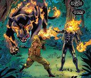T'Challa (Warp World) (Earth-616), T'Chaka (Warp World) (Earth-616) and Sergei Bushman (Warp World) (Earth-616) from Secret Warps Ghost Panther Annual Vol 1 1 001