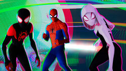 Miles Morales (Earth-TRN700) Peter Parker (Earth-TRN701) and Gwendolyn Stacy (TRN702) from Spider-Man Into the Spider-Verse 002