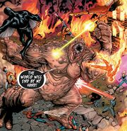 Void (Dark Sentry) (Earth-616) vs. Blackagar Boltagon (Earth-616), X-Men (Earth-616), New Avengers (Earth-616), and Fantastic Four (Earth-616) from New Avengers Vol 1 9 001