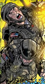 Curtis Connors and unnamed soldier (Earth-16220) from Spidey Vol 1 3 001