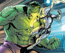 Aikku Jokinen (Earth-616) vs. Bruce Banner (Earth-616) from Avengers Vol 1 684 001