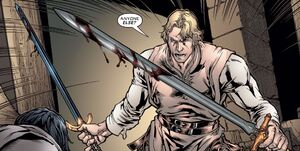 Percival of Scandia (Earth-616) with Ebony Blade and Excalibur (Sword) from New Excalibur Vol 1 10 001