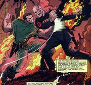 Nick Fury battles Baron Strucker in Cherbeaux France circa 1944 from Fury Vol 1 1