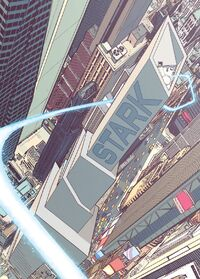 Stark Tower (Times Square) from Invincible Iron Man Vol 3 1 cover