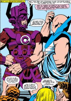 Galan (Earth-616), Uatu (Earth-616), and Fantastic Four (Earth-616) from Fantastic Four Vol 1 49 001