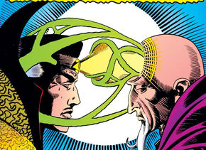 Stephen Strange (Earth-616) links minds with the Ancient One from Strange Tales Vol 1 137