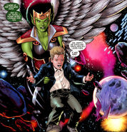 Lyja (Earth-616) and Franklin Richards (Earth-616) from Secret Invasion Fantastic Four Vol 1 3 001