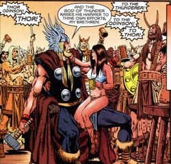 Thor Odinson (Earth-616) celebrated by Vikings from Captain Marvel Vol 4 17