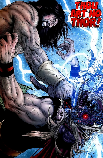 Hercules fighting Thor cyborg-clone
