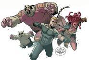 Eugene Thompson (Earth-616), Pik Rollo (Earth-616), Hilla (Earth-616) and Iqa (Earth-616) from Venom Space Knight Vol 1 10 001