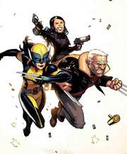 Laura Kinney (Earth-616), Gabrielle Kinney (Earth-616) and James Howlett (Earth-21923) from All-New Wolverine Vol 1 9 Textless cover 001