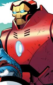 Antonio Stark (Earth-1610) with Orbital Armor (Earth-1610) from Ultimate Comics Ultimates Vol 1 24 0001