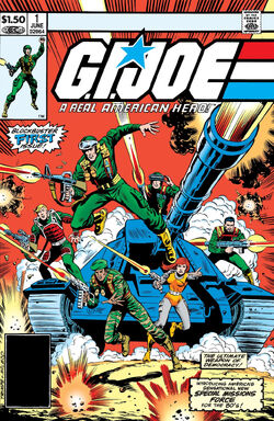 Comic book cover depicting six jump-suited soldiers with guns blazing, leaping forward dynamically in front of a large tank firing its cannon.