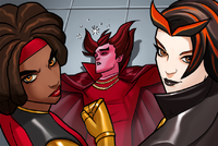 Mephisto (Earth-TRN562), Mercedes Knight (Earth TRN562) and Satana Hellstrom (Earth-TRN562) from Marvel Avengers Acaddemy 001