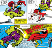 Thor Odinson (Earth-616) battles the Hulk from Journey into Mystery Vol 1 112