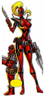 Lady Deadpool (Earth-3010) and Kidpool (Earth-10330) from Deadpool Corps Vol 1 2.png