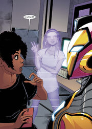 Neuro-Autonomous Technical Assistant & Laboratory Intelligence Entity (Earth-616) and Riri Williams (Earth-616) from Ironheart Vol 1 3 001