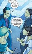 Leslie Dean (Earth-616) and Frank Dean (Earth-616) meeting Tina Minoru (Earth-616) and Robert Minoru (Earth-616) from Runaways Vol 1 13 001