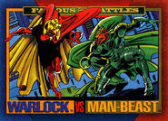 Adam Warlock (Earth-616) and Man Beast (Earth-616) from Marvel Universe Cards Series IV 0001