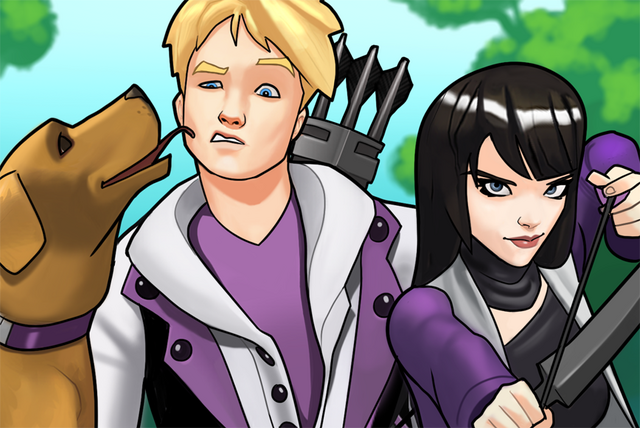 File:Clinton Barton (Earth-TRN562) Katherine Bishop (Earth-TRN562) and Lucky (Earth-TRN562) from Marvel Avengers Academy 002.png