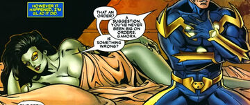 Gamora Zen Whoberi Ben Titan (Earth-7528) and Richard Rider (Earth-616) from Annihilation Vol 1 1 0001