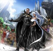 T'Challa (Earth-616) and Ororo Munroe (Earth-616) from X-Men Divided We Stand Vol 1 1 001