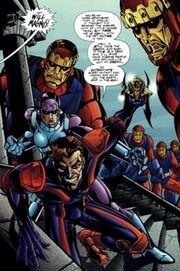 William Magnus (Earth-9602), Jocasta (Earth-9602), and Sentinels from JLX Vol 1 1 001