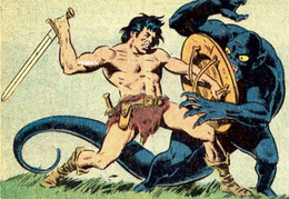 Beowulf (Earth-616) and the Beast-God (Earth-616) from Tower of Shadows Vol 1 6 0001