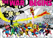 Fantastic Four (Earth-616), Avengers (Earth-616), Peter Parker (Earth-616), Bruce Banner (Earth-616), and Max Eisenhardt (Earth-616) during the original Secret Wars from Marvel Super Heroes Secret Wars Vol 1 1 001