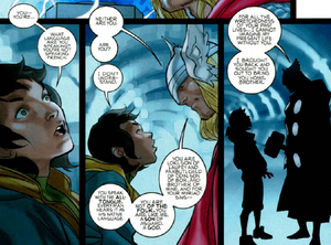 Loki Laufeyson (Kid Loki) (Earth-616) and Thor Odinson (Earth-616) from Thor Vol 1 617 001